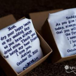 Wedding Gift For Dad From Son : ... Wedding Handkerchief For Mom And Dad. Great Keepsake Gift. on Luulla